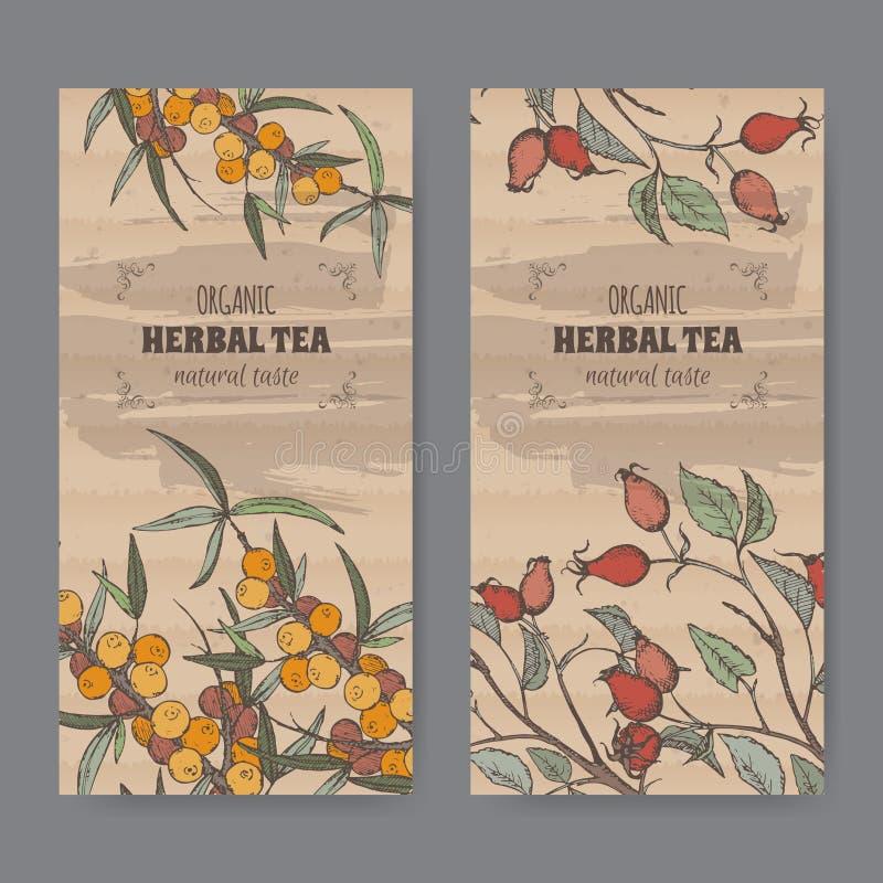 Etiquetas bicolores del vintage para el perro color de rosa y té del espino cerval ilustración del vector