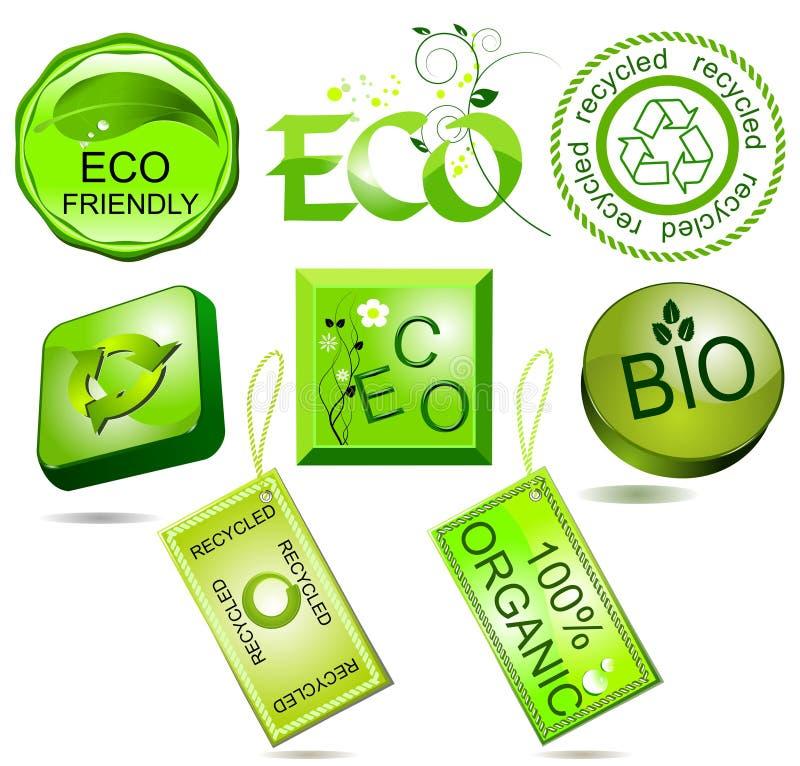 Etiquetas bio e do eco ilustração royalty free