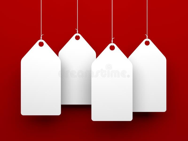 Etiquetas blancas en fondo rojo libre illustration