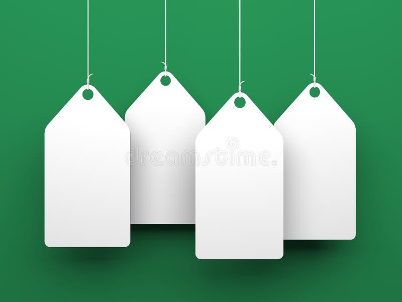 Etiquetas blancas en fondo verde stock de ilustración