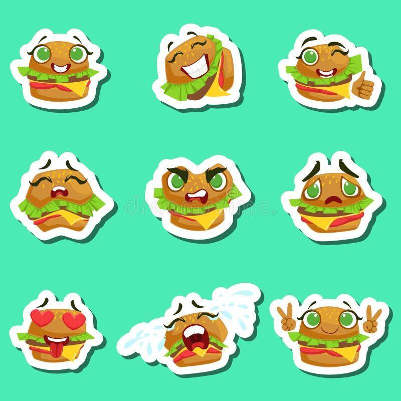 Etiquetas bonitos de Emoji do hamburguer ajustadas no fundo verde ilustração stock