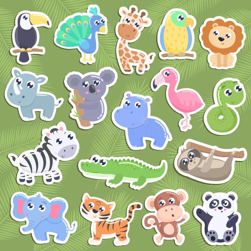 Etiquetas bonitos do animal da selva ilustração royalty free