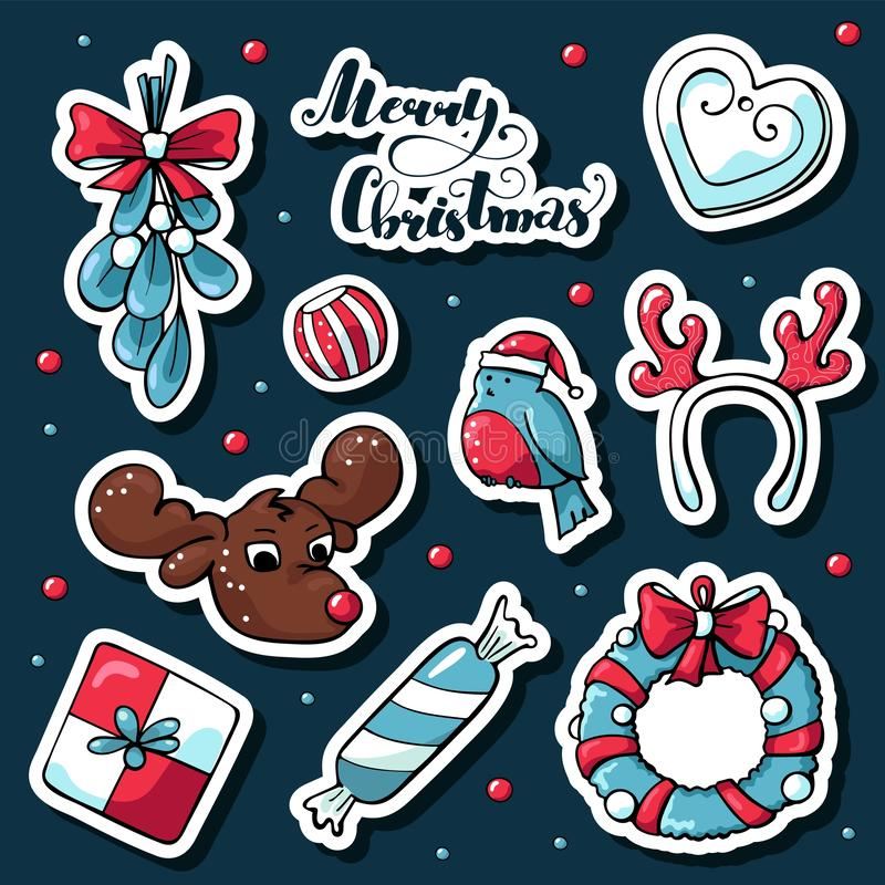 Etiquetas bonitos do Natal da garatuja no estilo dos desenhos animados Imagens tiradas mão do vetor do coração, cervo, bola do Na ilustração do vetor