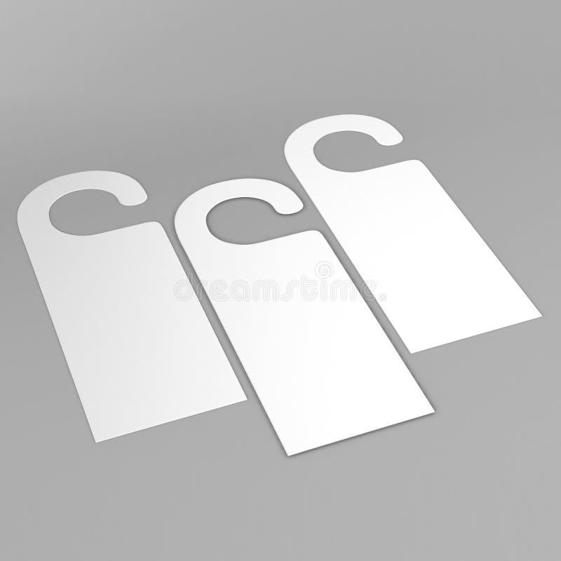 Etiquetas brancas do inseto do gancho de porta para a sala no hotel, no recurso, na casa isolada no fundo cinzento para o molde d ilustração royalty free