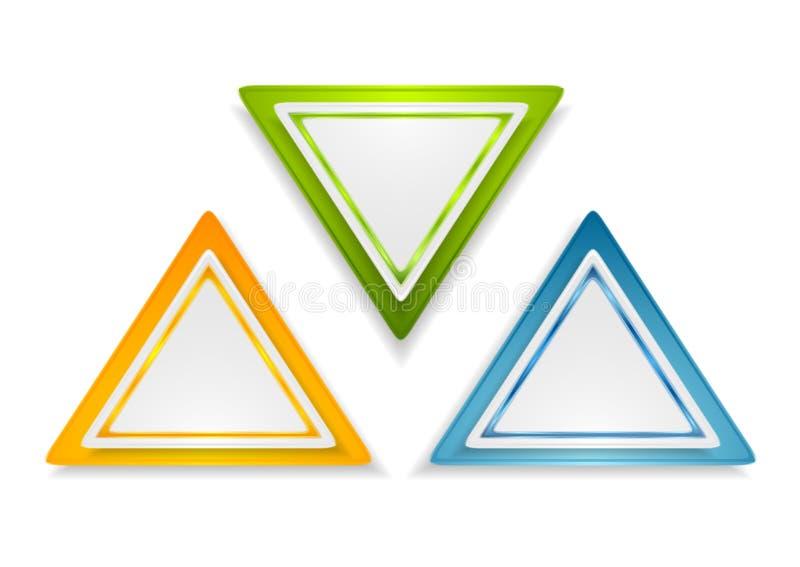 Etiquetas brilhantes abstratas do triângulo ilustração do vetor