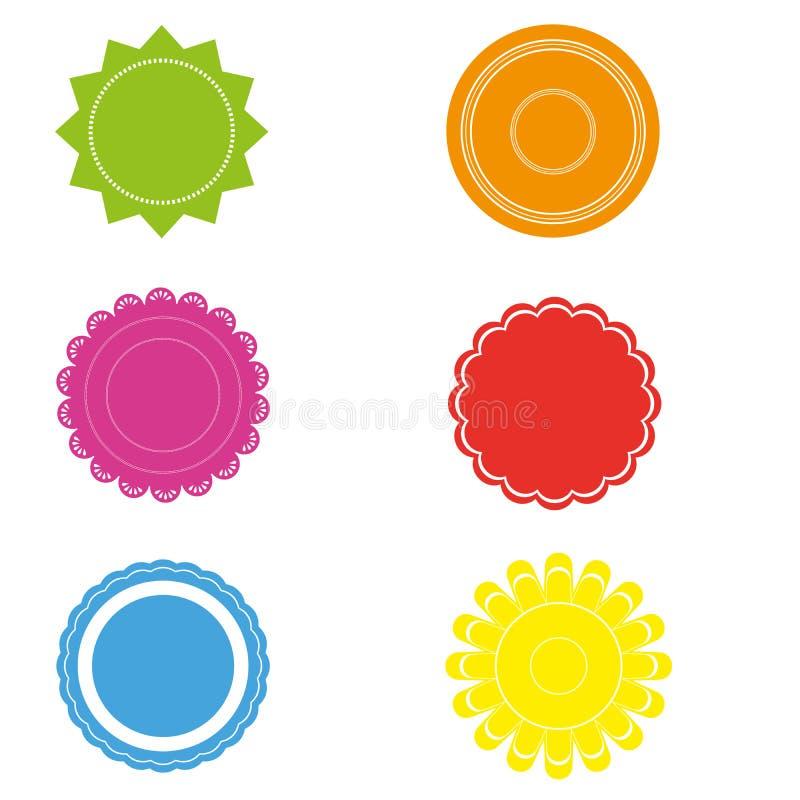 Etiquetas brillantemente coloreadas ilustración del vector