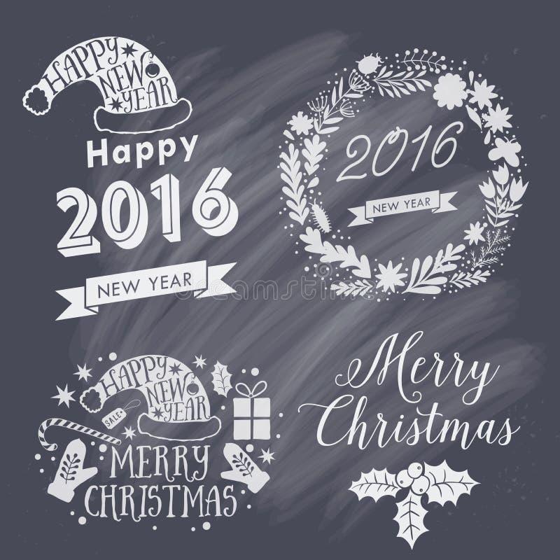 Etiquetas caligráficas de la Feliz Navidad y de la Feliz Año Nuevo, elementos de las letras Etiquetas determinadas de la Navidad, ilustración del vector