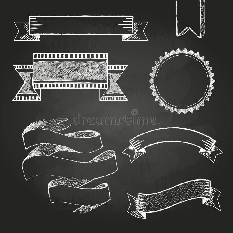 Etiquetas, cintas y etiquetas engomadas del tablero de tiza stock de ilustración