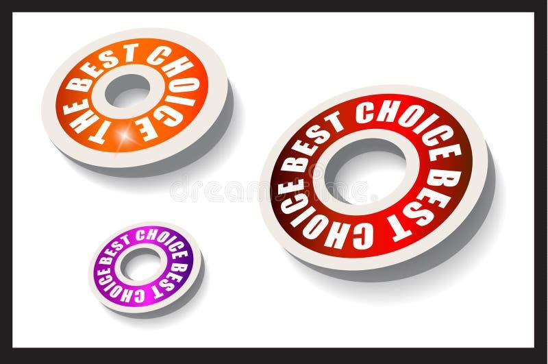 Etiquetas circulares de papel rojas del estilo stock de ilustración
