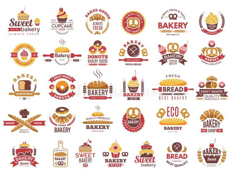Etiquetas coloreadas de la panadería Logotipos de la comida del vintage con cocinar la colección del vector de los símbolos de lo ilustración del vector