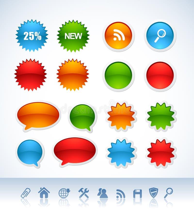 Etiquetas coloridas ilustração stock