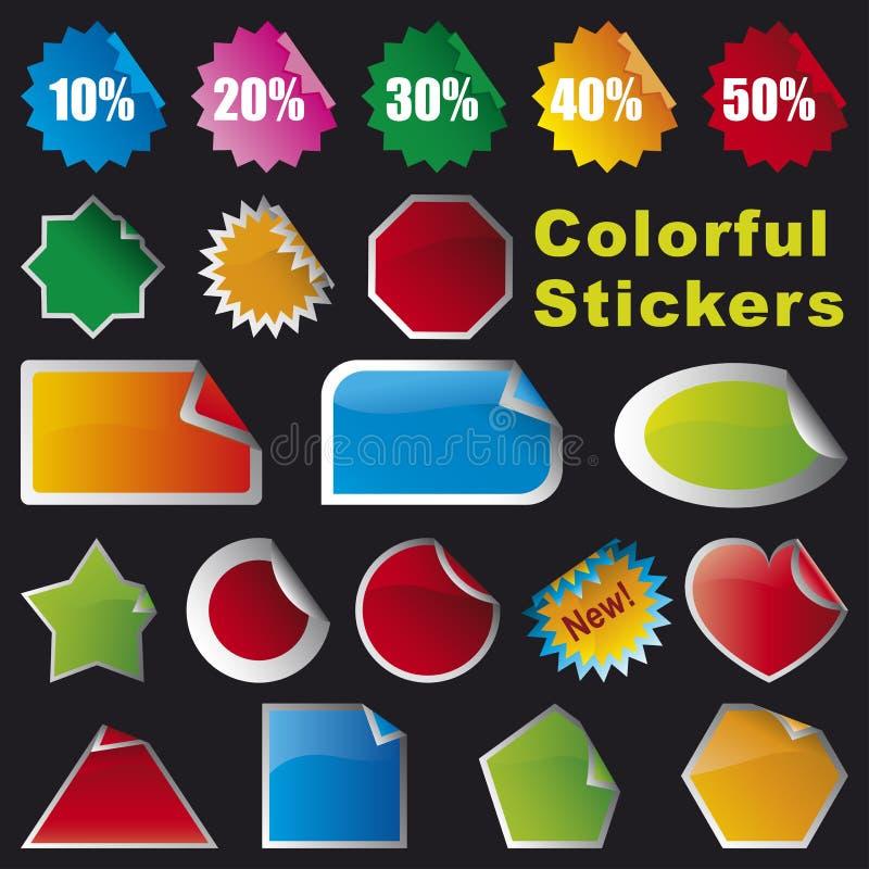 Etiquetas coloridas ilustração royalty free