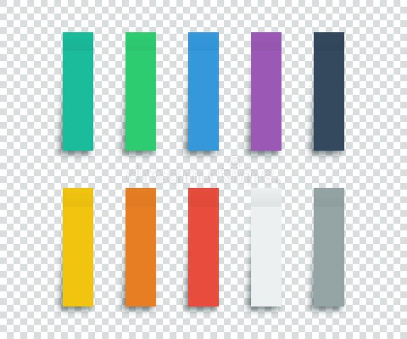 Etiquetas coloridas ajustadas isoladas no fundo transparente etiquetas Fita de papel das etiquetas com sombra Etiquetas coloridas ilustração royalty free
