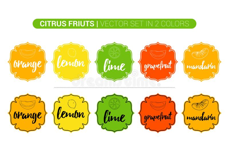 Etiquetas coloridas de los agrios del limón, naranja, cal, pomelo, mandarín Etiquetas autoadhesivas de la tienda de la publicidad libre illustration