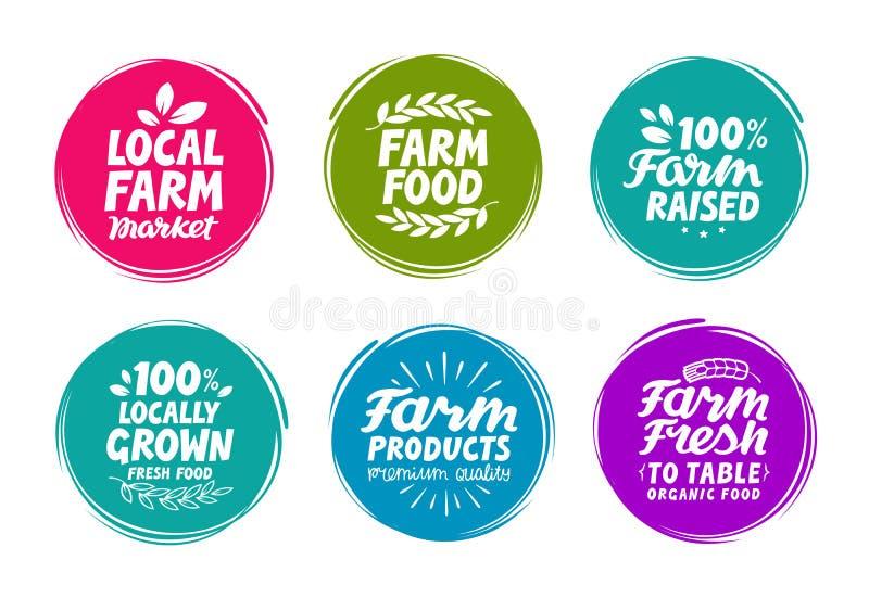 Etiquetas coloridas determinadas para la comida, nutrición del vector Iconos de la colección de la granja libre illustration