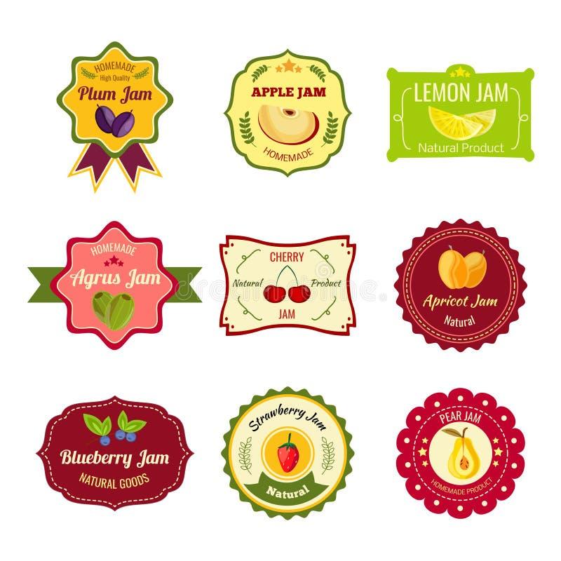 Etiquetas coloridas do doce natural ilustração royalty free