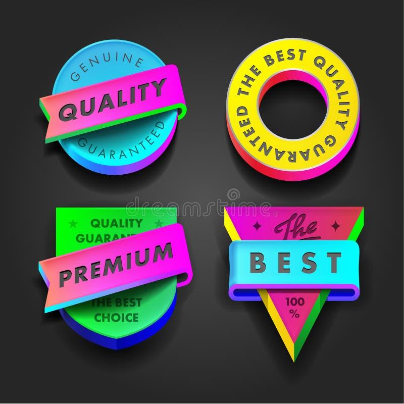 Etiquetas coloridos superiores da qualidade e da garantia ilustração stock