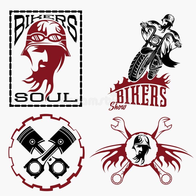 etiquetas com homem do motociclista, velomotor e ferramentas do reparo ilustração do vetor