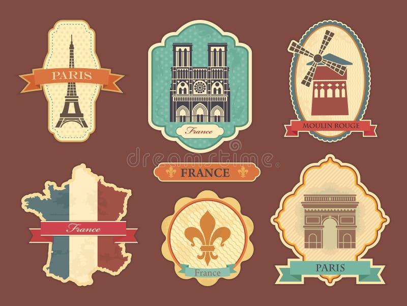 Etiquetas com símbolos de França ilustração royalty free