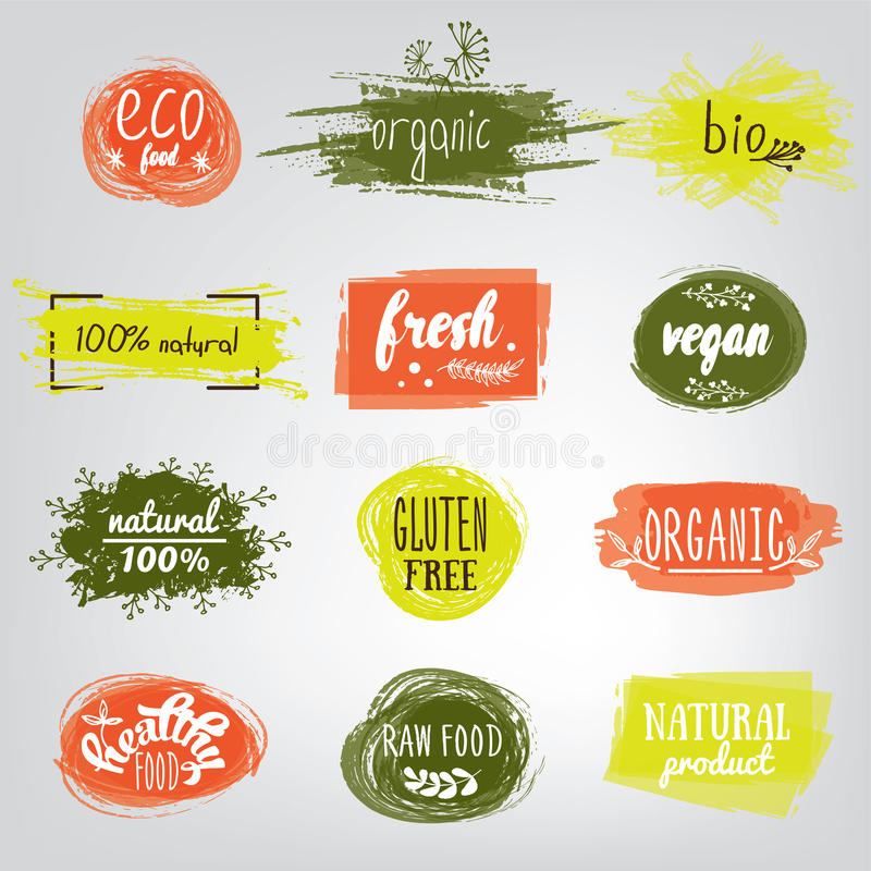 Etiquetas com vegetariano e projetos crus da dieta de alimento Grupo das etiquetas e de elementos do alimento biológico para a re ilustração stock