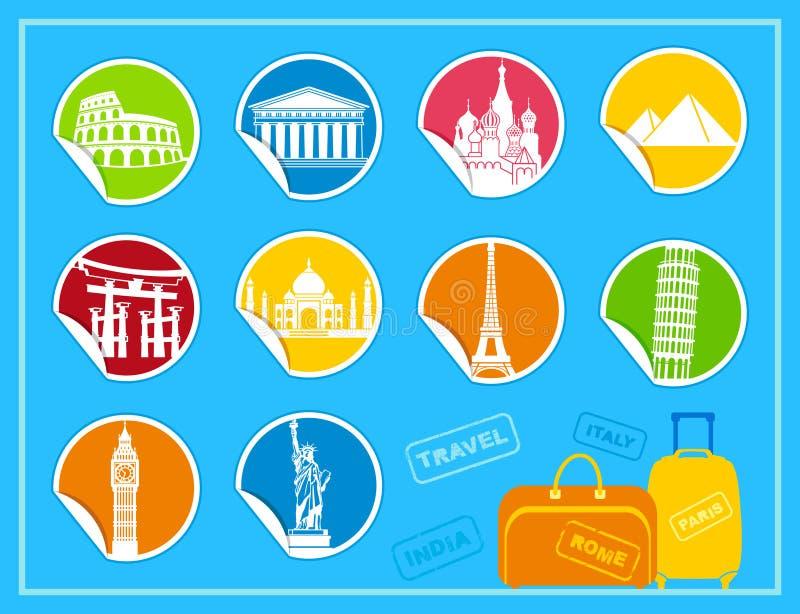 Etiquetas com vistas ilustração royalty free