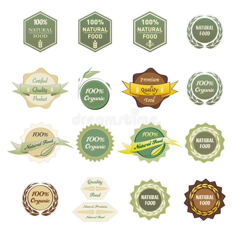 Etiquetas comida orgánica y natural del 100% libre illustration