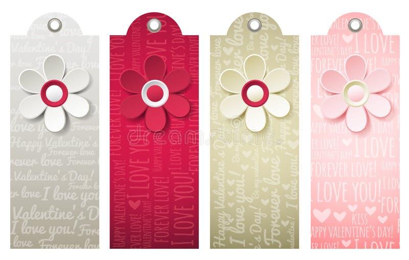 Etiquetas con la flor decorativa, vector de las tarjetas del día de San Valentín stock de ilustración