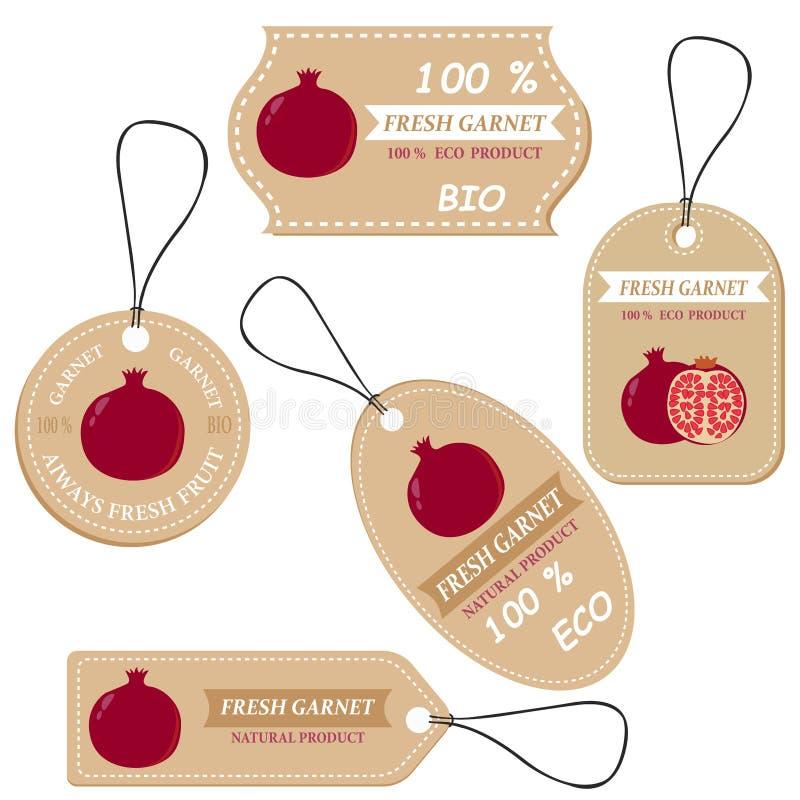 Etiquetas con las diversas frutas, para el granate imágenes de archivo libres de regalías
