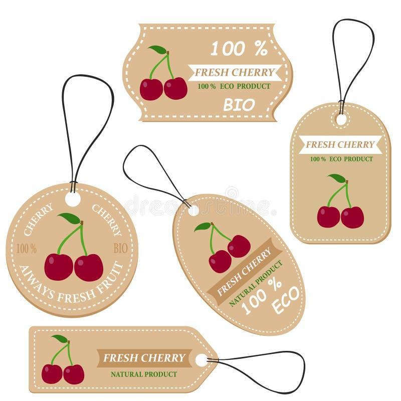 Etiquetas con las diversas frutas, para la cereza fotografía de archivo