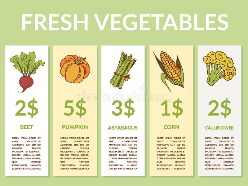 Etiquetas con las diversas verduras e inscripciones stock de ilustración