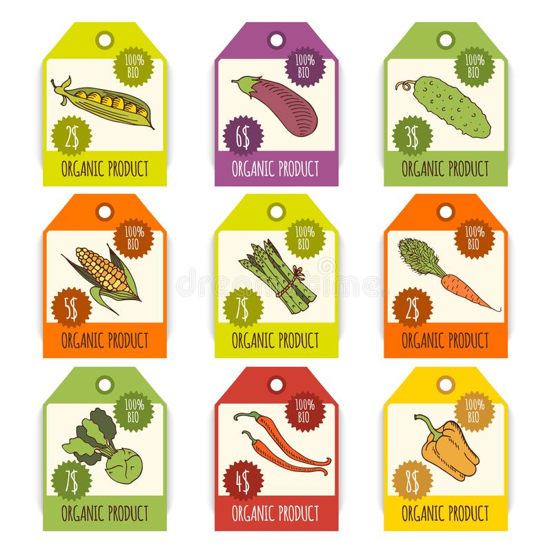 Etiquetas con las diversas verduras e inscripciones libre illustration