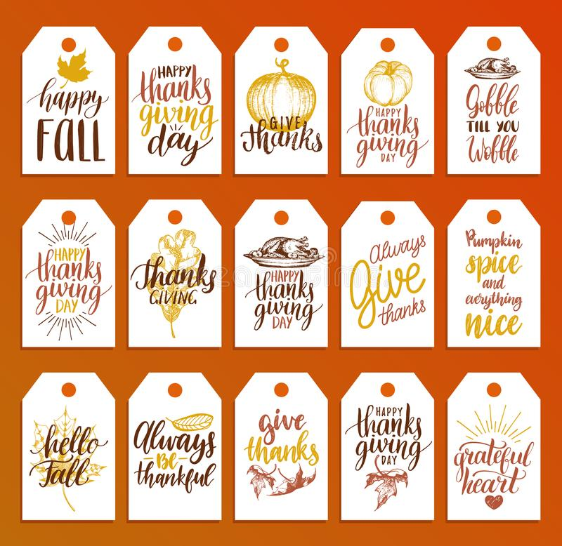 Etiquetas con las letras y los ejemplos para el día de la acción de gracias Vector las etiquetas exhaustas y manuscritas de la ca stock de ilustración