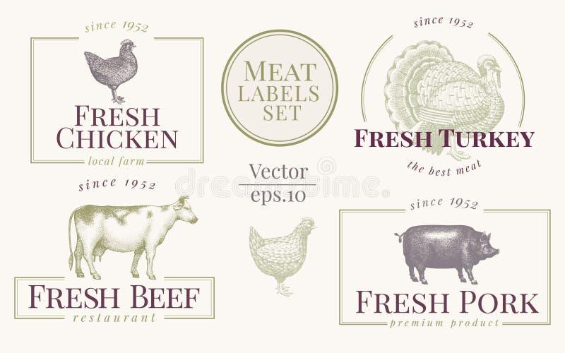 Etiquetas con los animales del campo Fije el logotipo de las plantillas para las tiendas y los mercados del alimento biológico Pl ilustración del vector