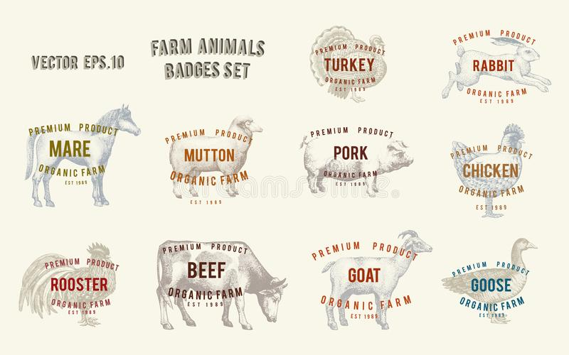 Etiquetas con los animales del campo Fije los precios de las plantillas para las tiendas y los mercados del alimento biológico Ar ilustración del vector
