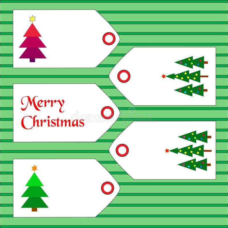 Etiquetas con los artículos de la Navidad ilustración del vector