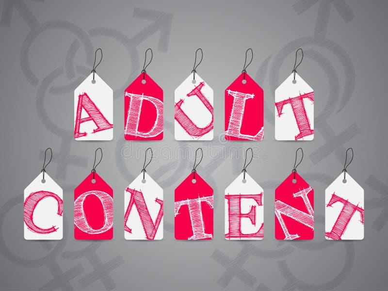 Etiquetas cor-de-rosa do branco com aviso satisfeito adulto ilustração royalty free