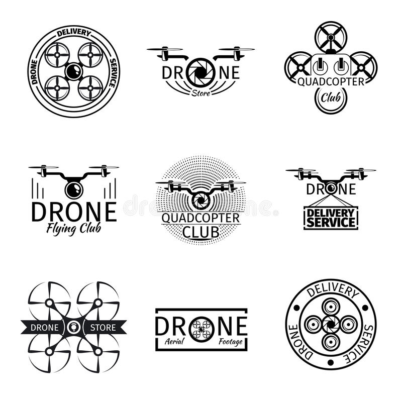 Etiquetas, crachás e logotipos aéreos do clube do voo do zangão ilustração do vetor