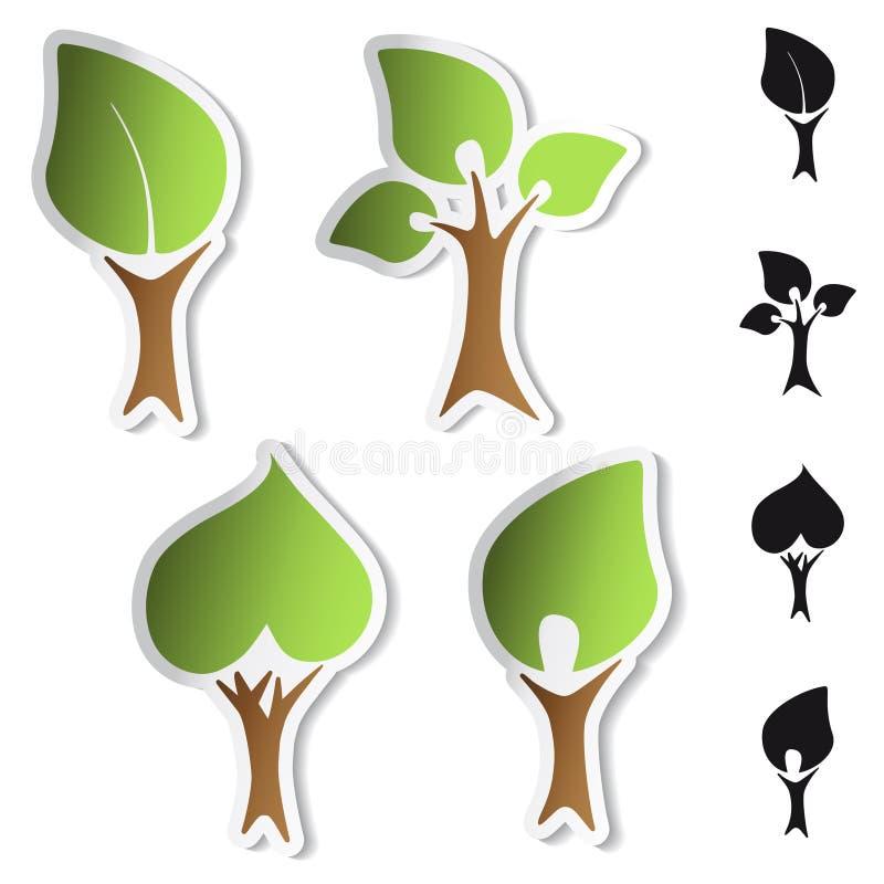 Etiquetas da árvore do vetor - bio símbolos ilustração royalty free