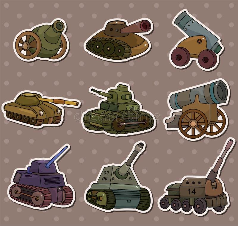 Etiquetas da arma do tanque/canhão dos desenhos animados ilustração stock