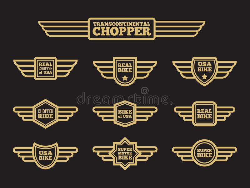 Etiquetas da asa do vintage do velomotor do esporte ilustração do vetor