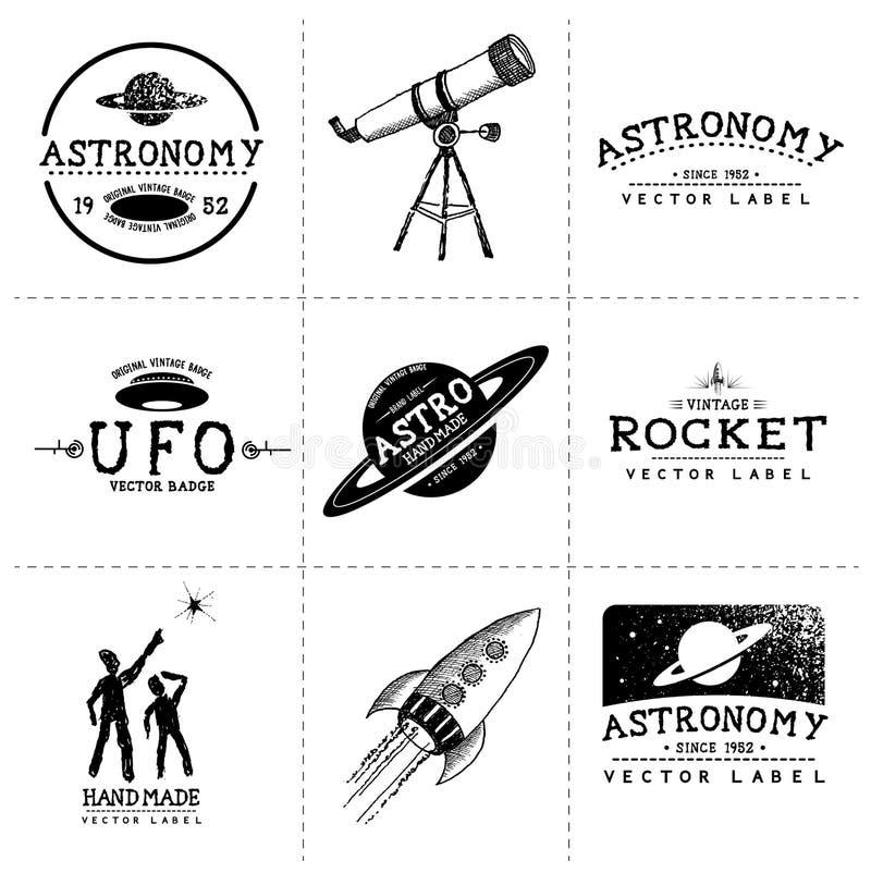 Etiquetas da astronomia do vintage ilustração do vetor