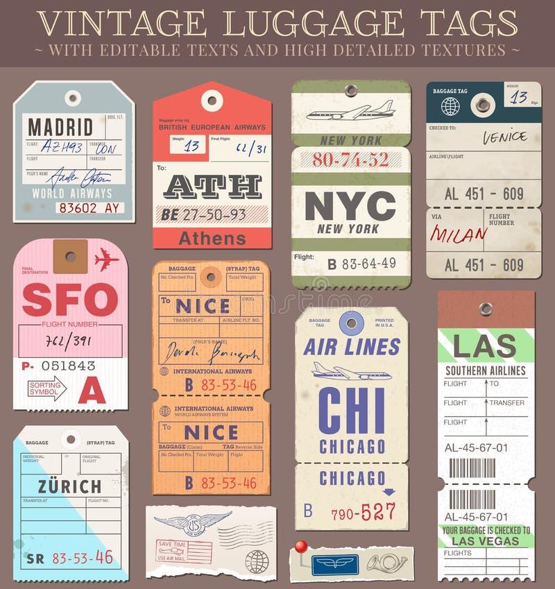 Etiquetas da bagagem do vetor ilustração royalty free