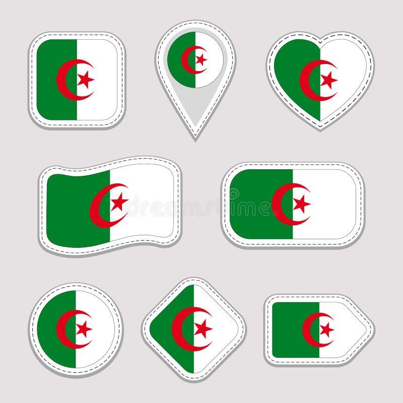 Etiquetas da bandeira de Argélia ajustadas Crachás argelinos dos símbolos nacionais Ícones geométricos isolados O oficial do veto ilustração do vetor