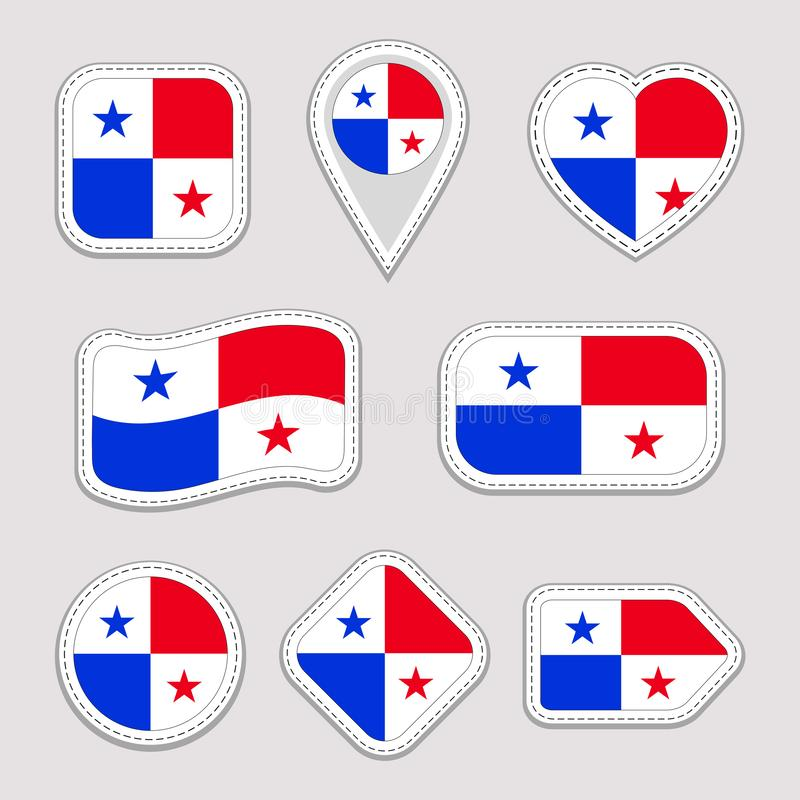 Etiquetas da bandeira de Panamá ajustadas Crachás panamenses dos símbolos nacionais Ícones geométricos isolados O oficial do veto ilustração royalty free