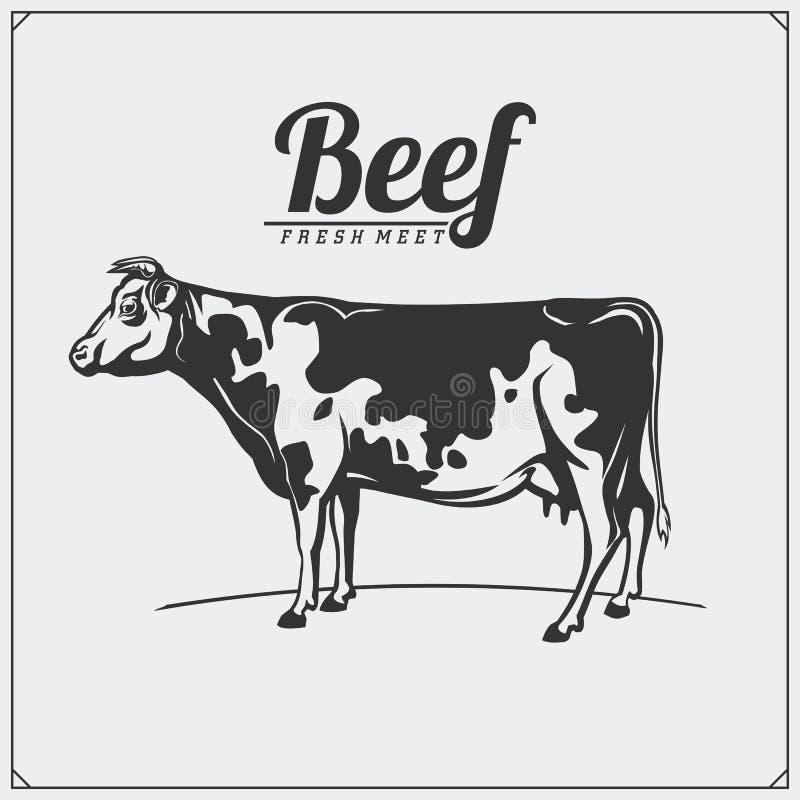 Etiquetas da carne do vetor Logotipos do negócio do ` s do carniceiro Silhuetas de animais de exploração agrícola ilustração do vetor