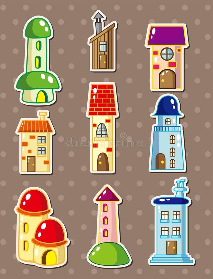 Etiquetas da casa dos desenhos animados ilustração do vetor
