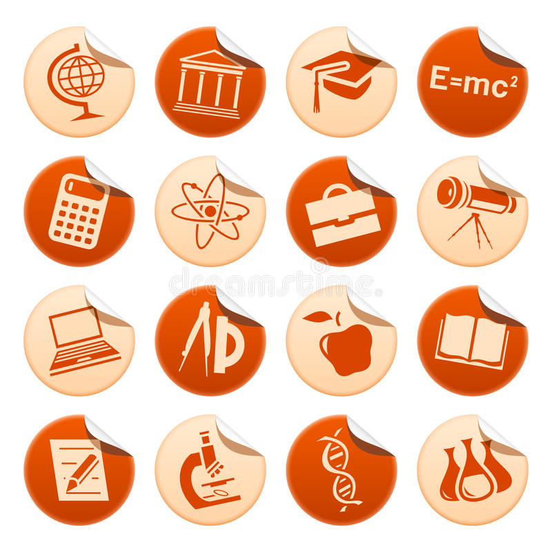 Etiquetas da ciência & da instrução ilustração do vetor