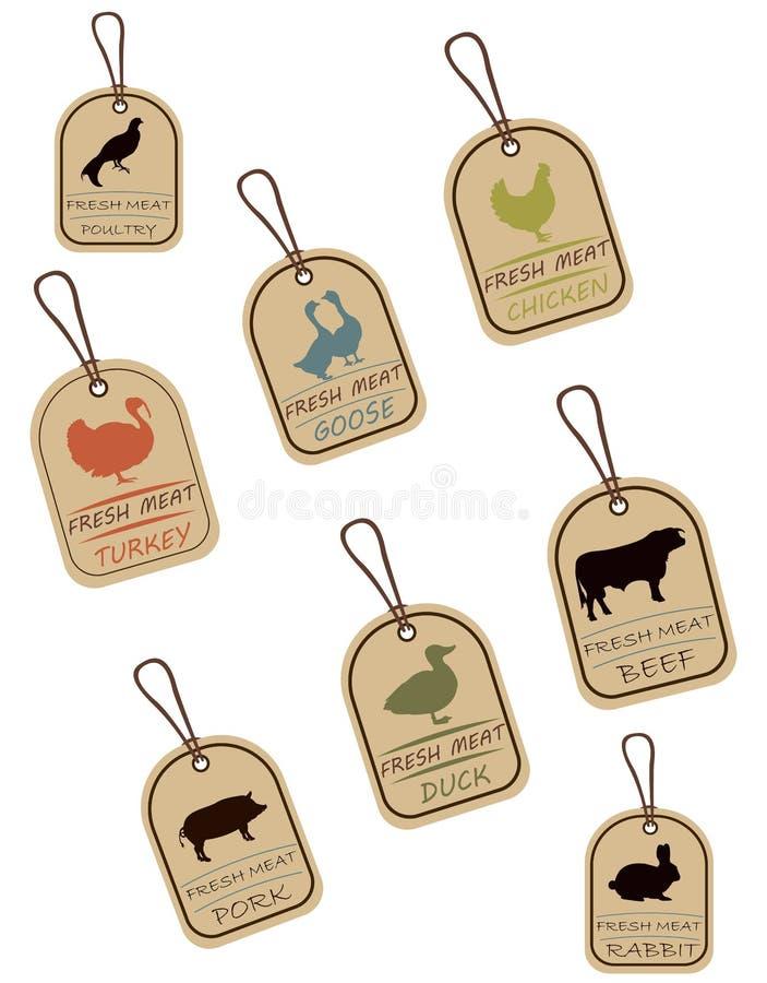 Etiquetas da corda, etiquetas da carne ilustração do vetor