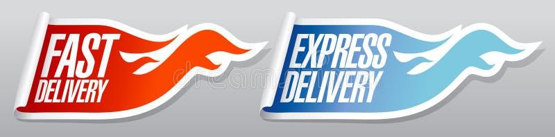 Etiquetas da entrega expressa. ilustração stock