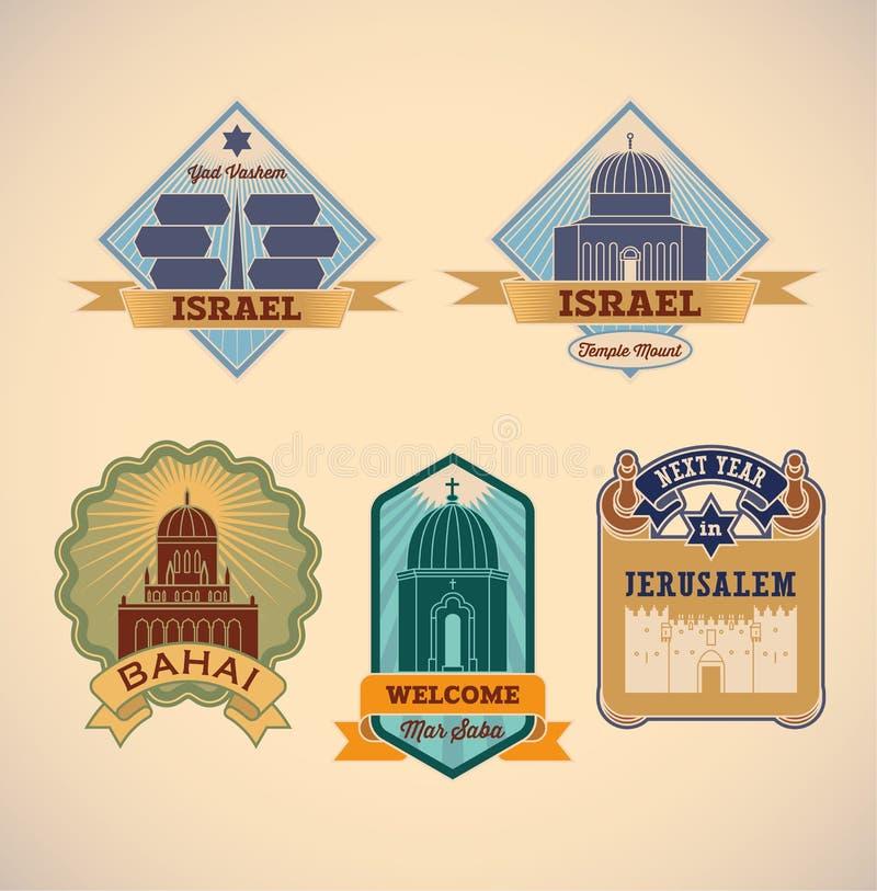 Etiquetas da excursão de Israel ilustração royalty free
